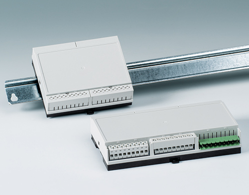 Low profile DIN rail enclosures